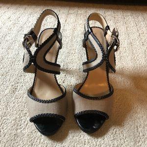 Tahari size 8.5 women's sandals LIMA black & tan